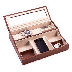 Bey-Berk Leather Jewelry Watch Accessory Valet